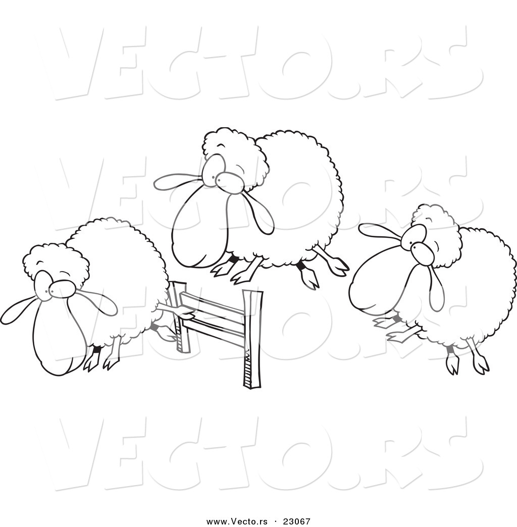 vector of a cartoon herd of sheep leaping a fence coloring page