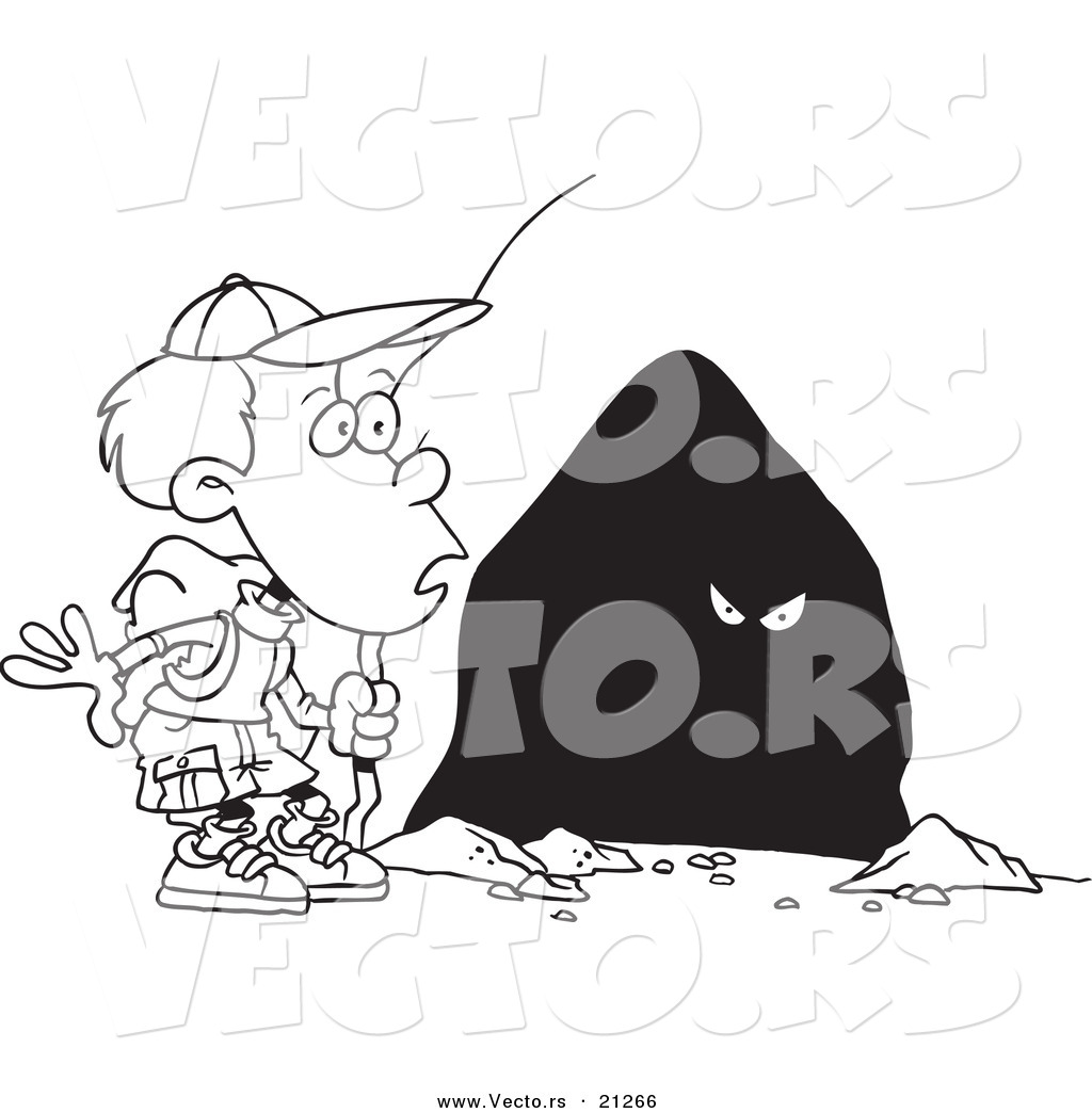 vector of a cartoon hiker boy seeing eyes in a cave coloring