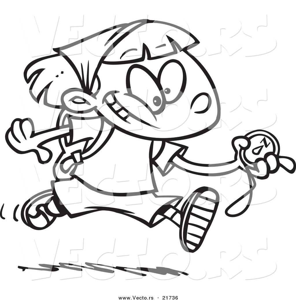 Vector of a Cartoon Hiker Girl Running with a Compass Outlined