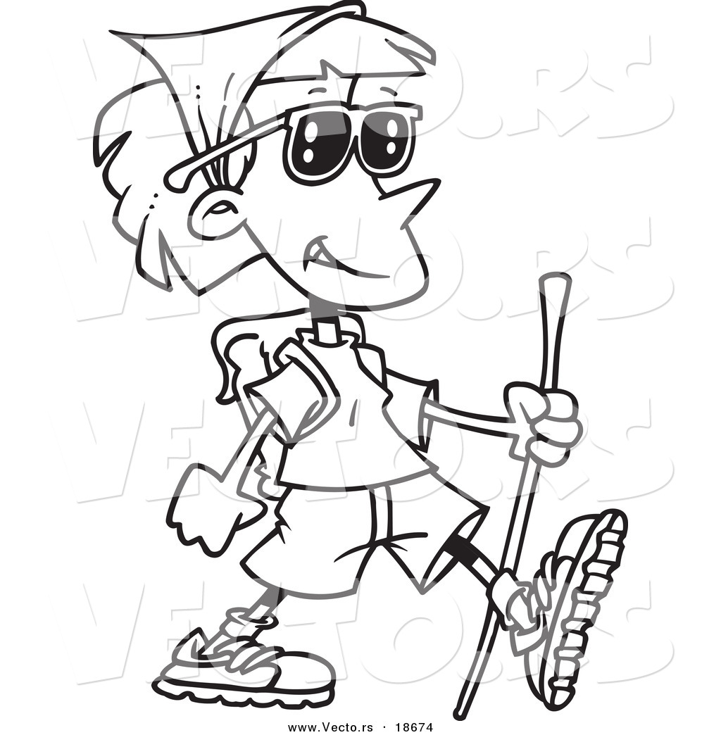 vector of a cartoon hiking lady outlined coloring page