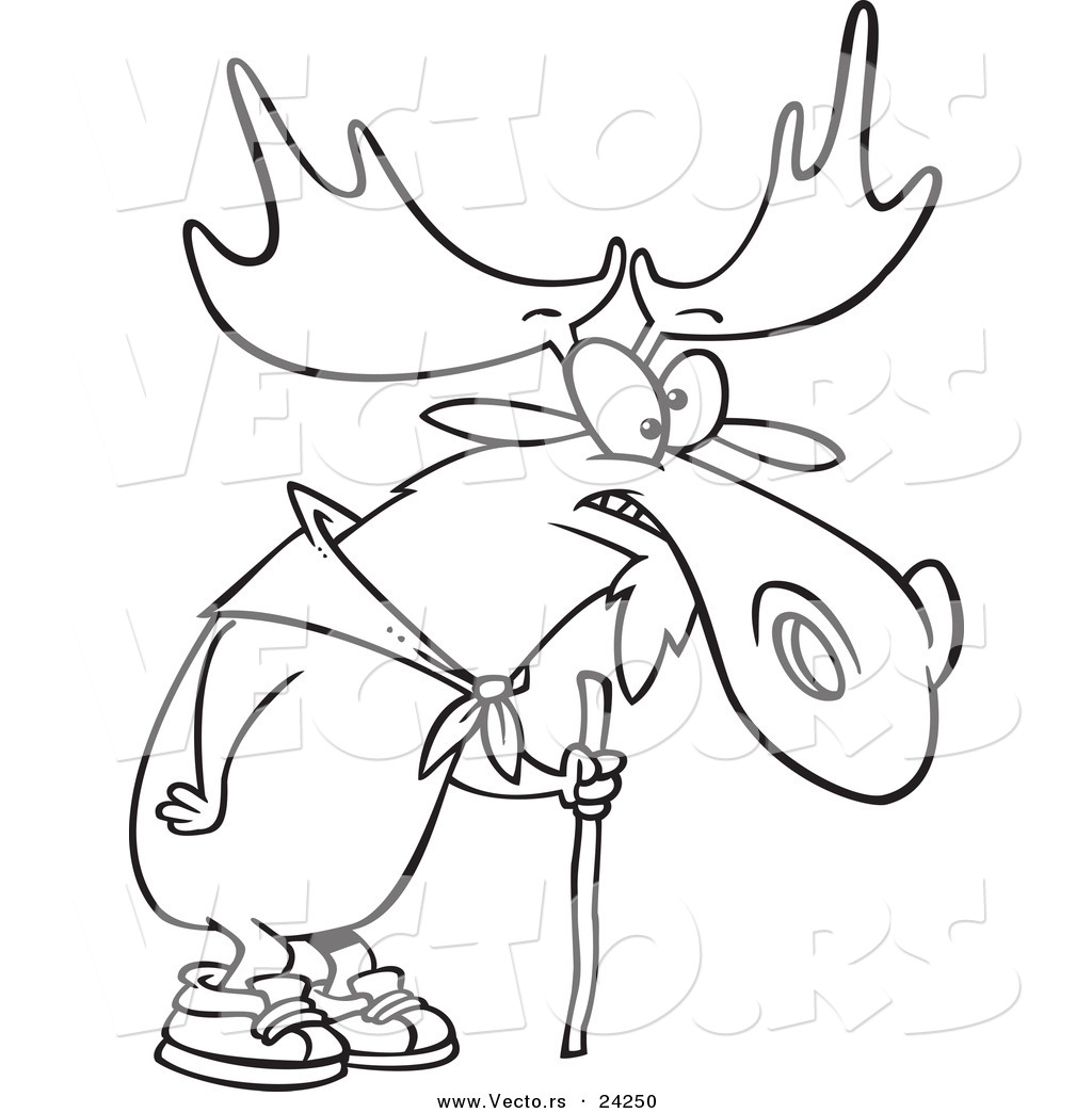 Vector Of A Cartoon Hiking Moose Using Walking Stick Outlined Coloring Page