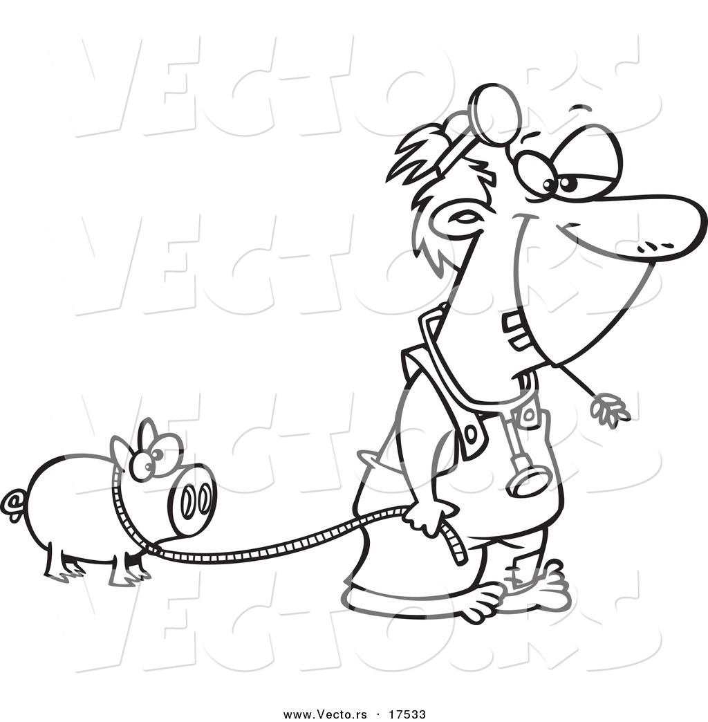 Free printable coloring pages veterinarians - Vector Of A Cartoon Hillbilly Doctor With A Pet Pig Coloring Page Outline
