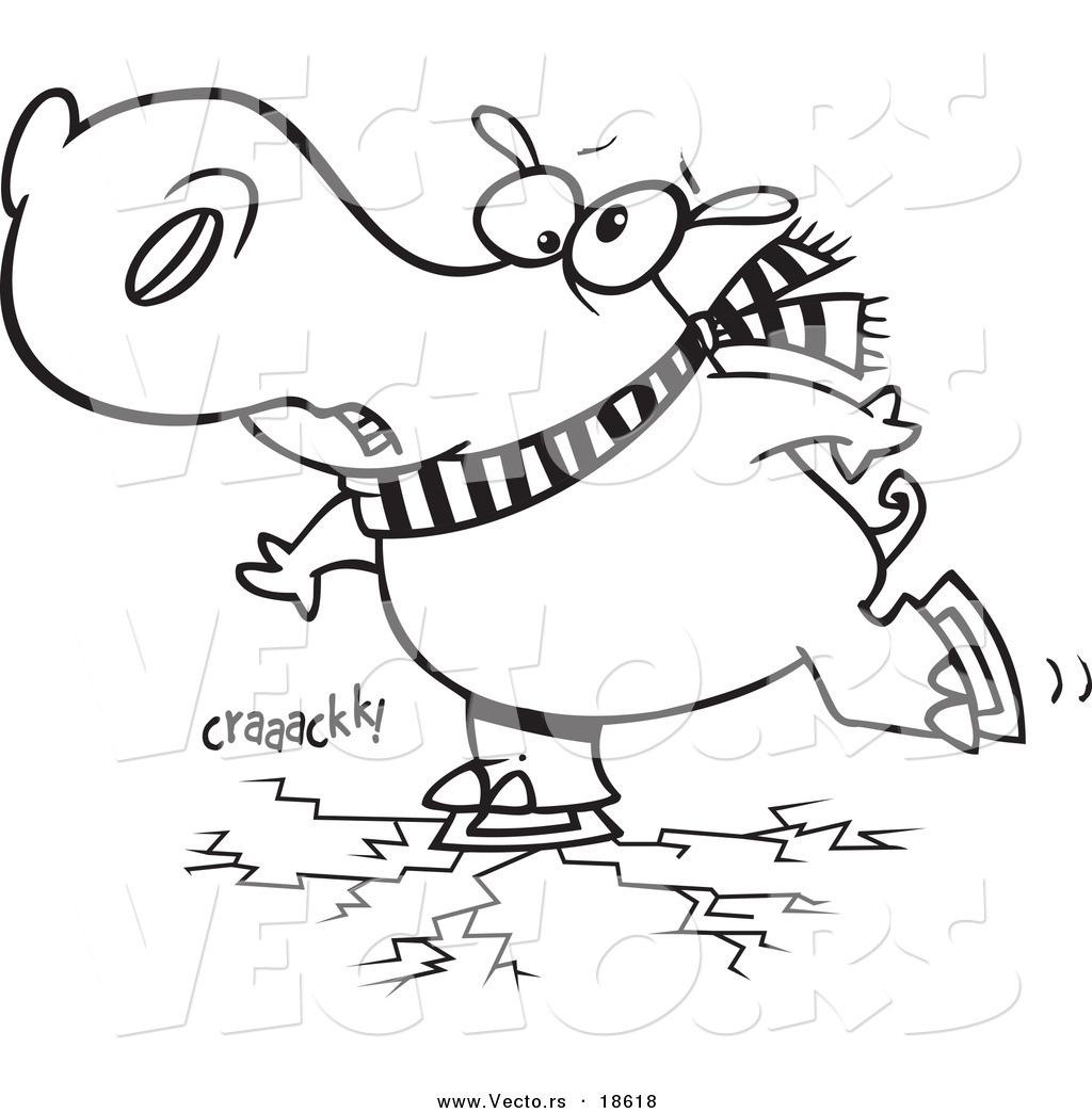 vector of a cartoon hippo skating on cracking ice outlined