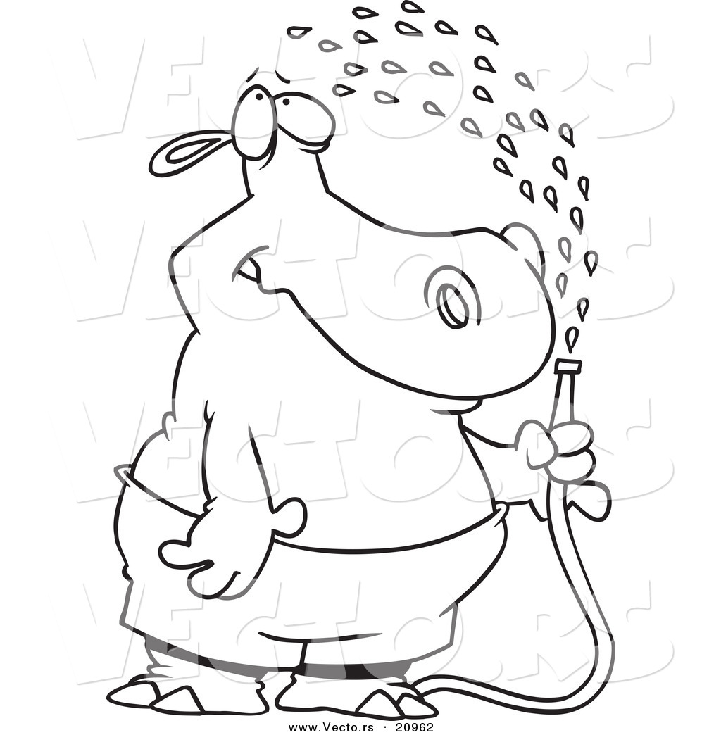 vector of a cartoon hippo spraying himself with a hose coloring
