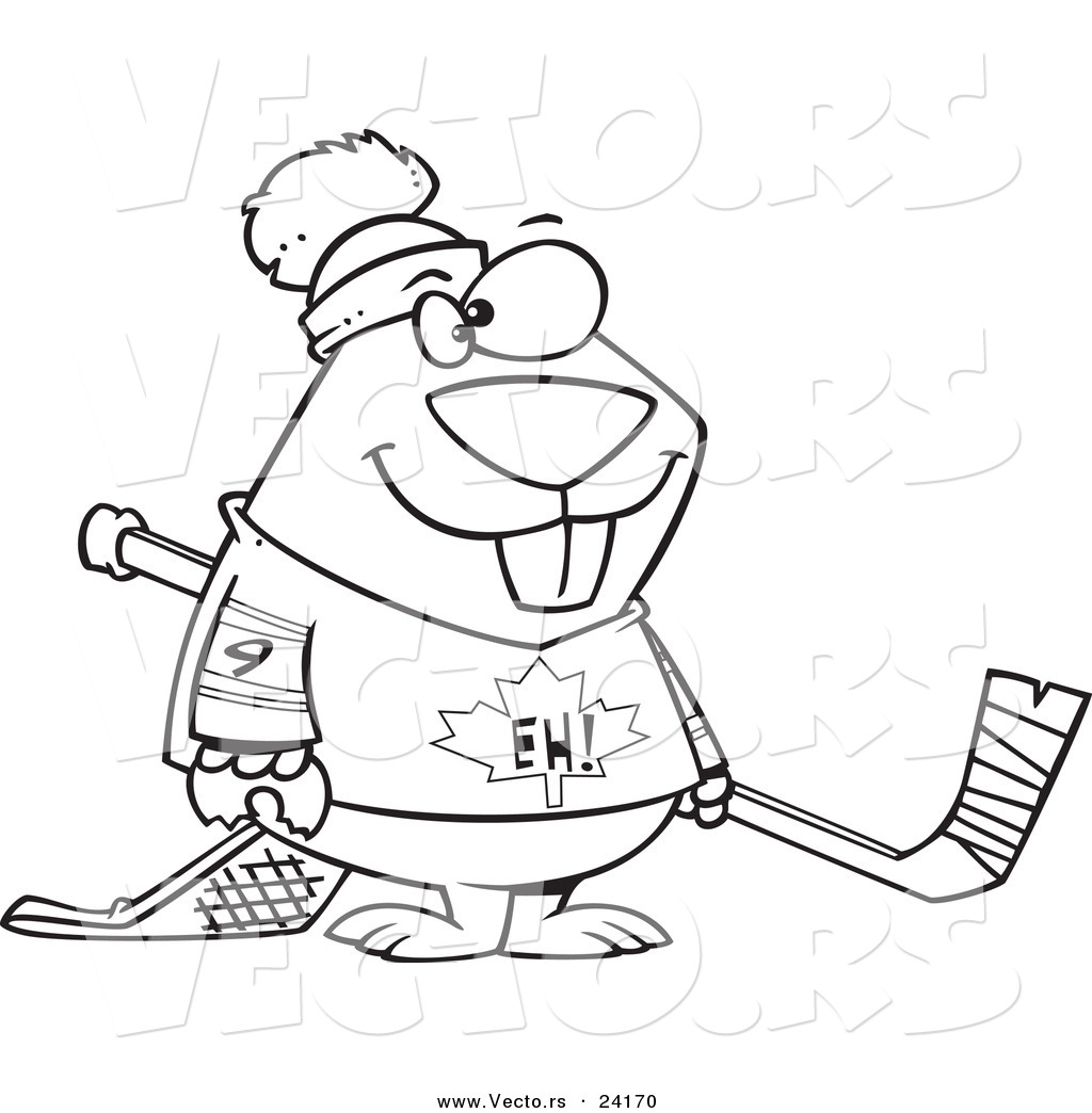 Vector of a Cartoon Hockey Beaver Coloring Page Outline by