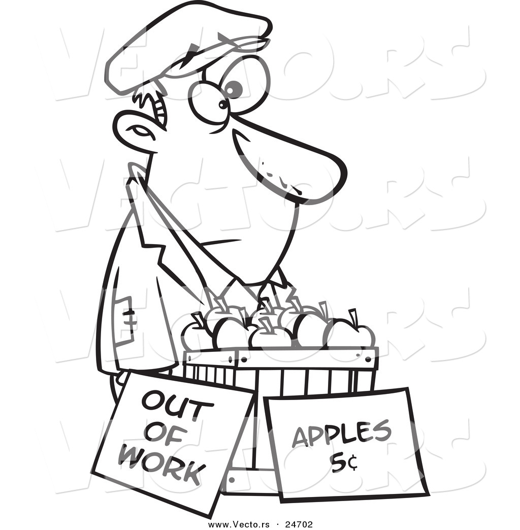 vector of a cartoon homeless man trying to sell apples outlined