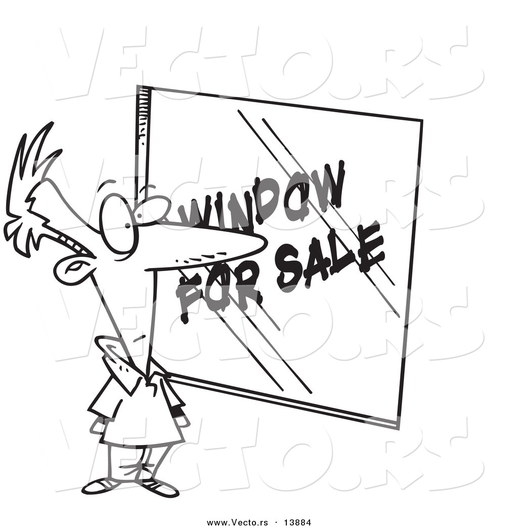 Vector of a Cartoon Homeowner Shopping for Windows - Coloring Page
