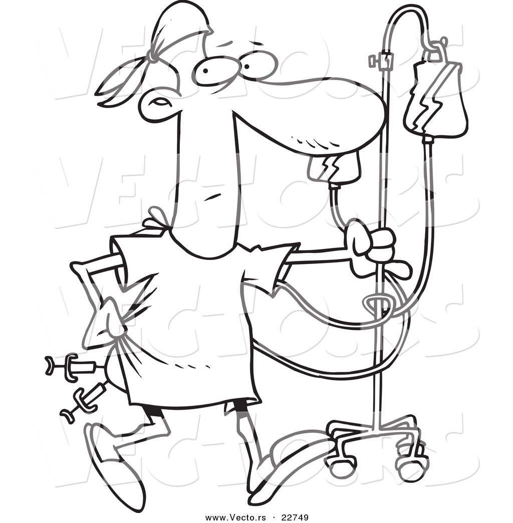 Free coloring pages hospital - Vector Of A Cartoon Hospital Patient With Needles In His Butt Coloring Page Outline