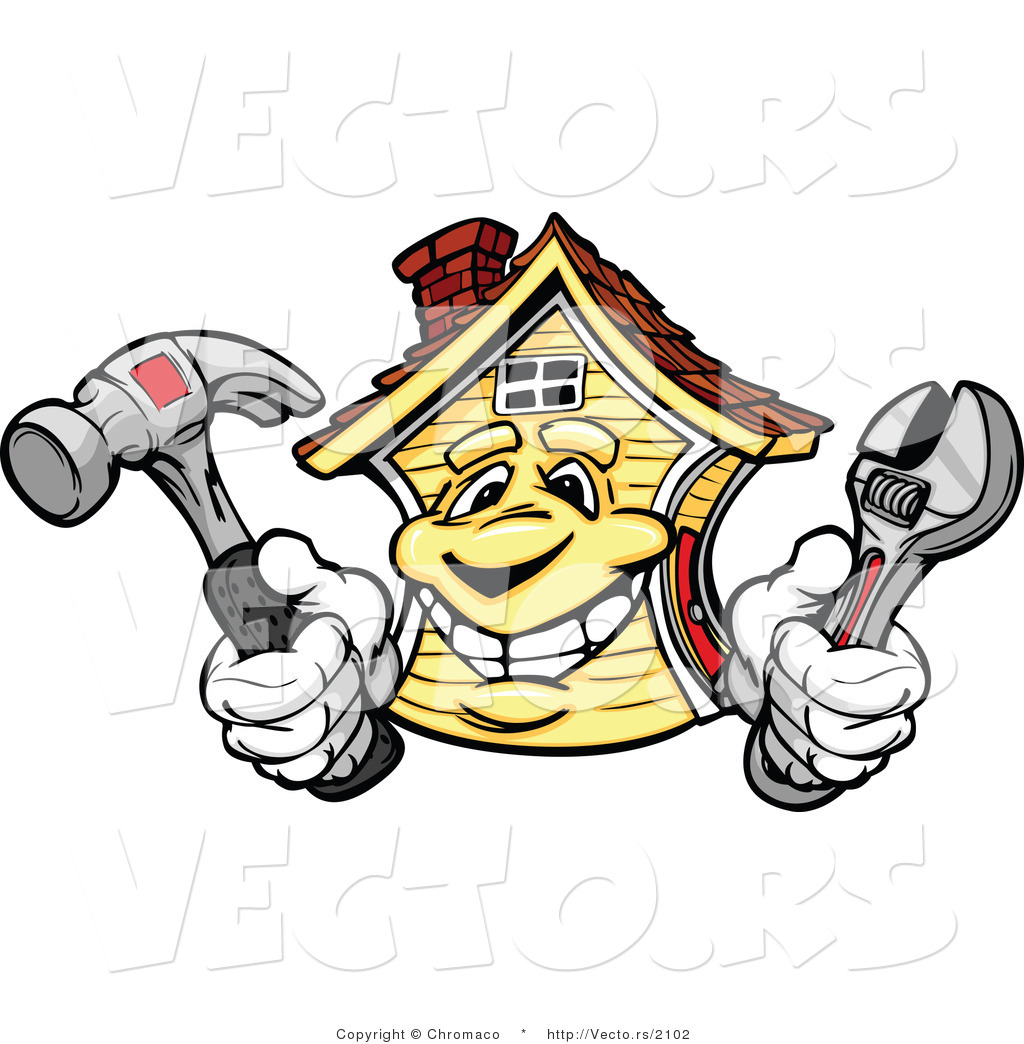 Vector of a cartoon house mascot holding hammer and wrench for Mascot homes floor plans