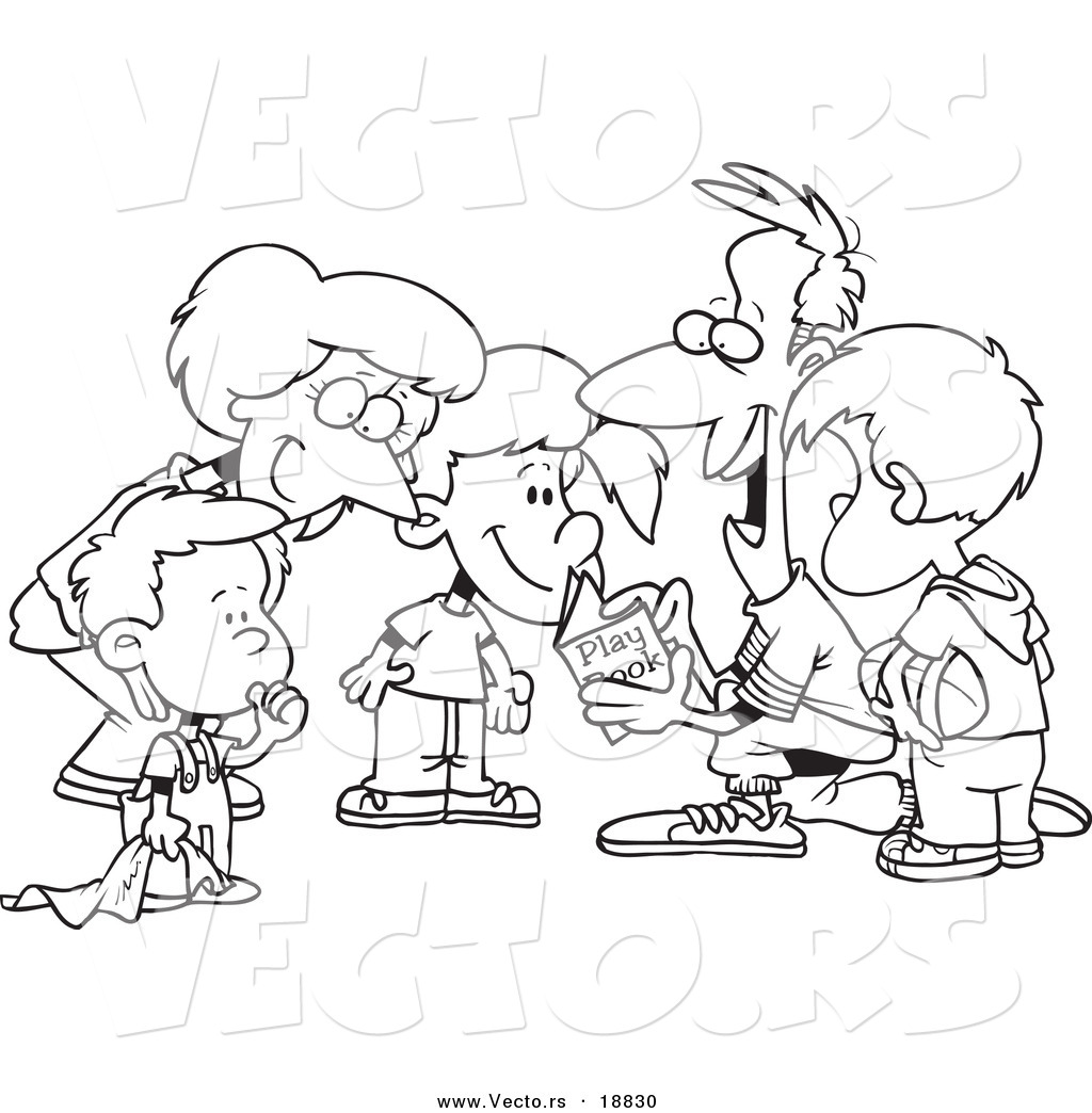 Coloring pages reading - Vector Of A Cartoon Huddled Family Reading A Football Play Book Outlined Coloring Page