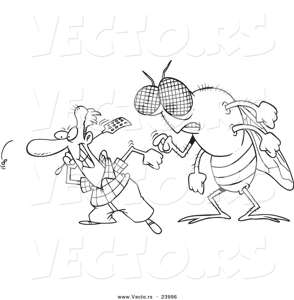 Vector of a Cartoon Huge Fly Behind a Man Swatting Flies - Coloring ...