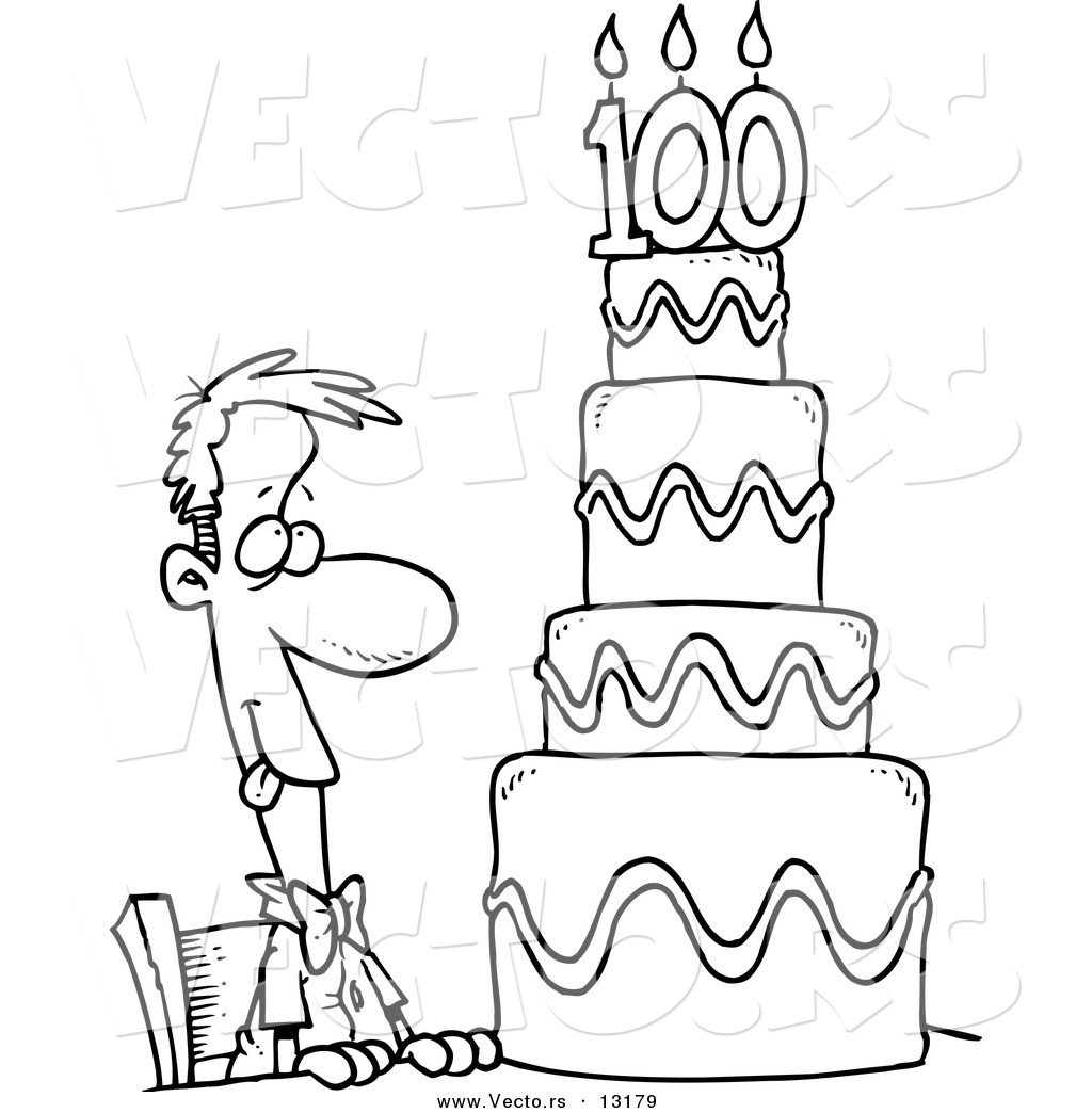 Vector Of A Cartoon Hungry Guy Drooling Over A 100 Birthday Cake