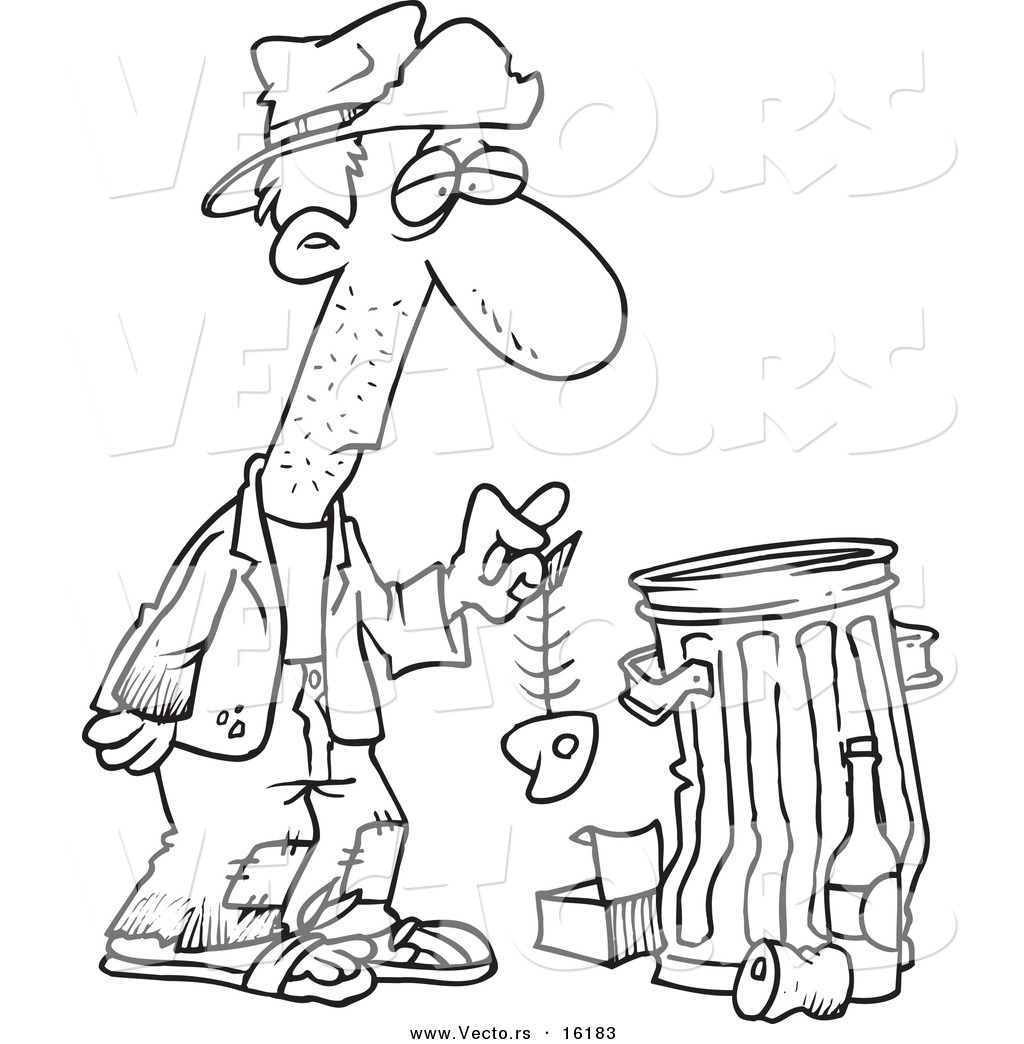 Vector Of A Cartoon Hungry Homeless Man Holding Fish Bone By Trash Can