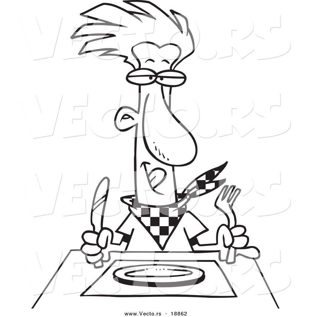 Vector of a cartoon hungry man waiting for his dinner for Dinner plate coloring page