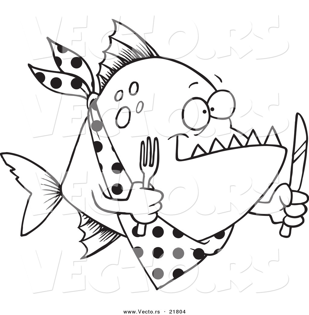vector of a cartoon hungry piranha fish outlined coloring page