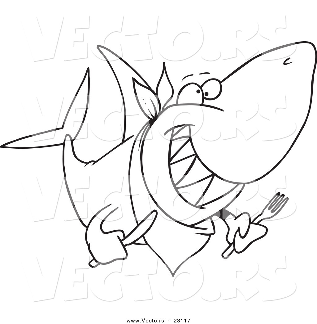 Vector Of A Cartoon Hungry Shark Coloring Page Outline