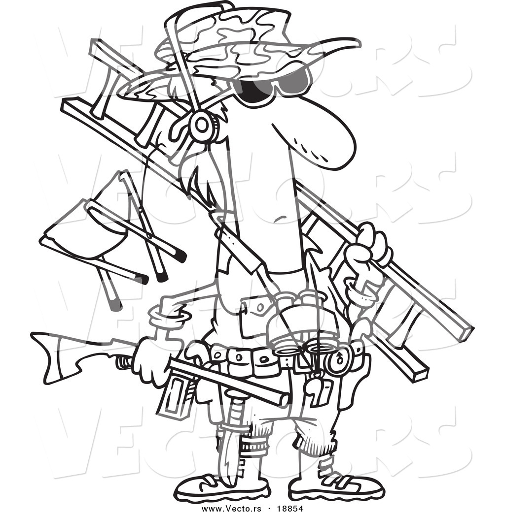vector of a cartoon hunter carrying his gear outlined coloring page - Hunting Coloring Pages