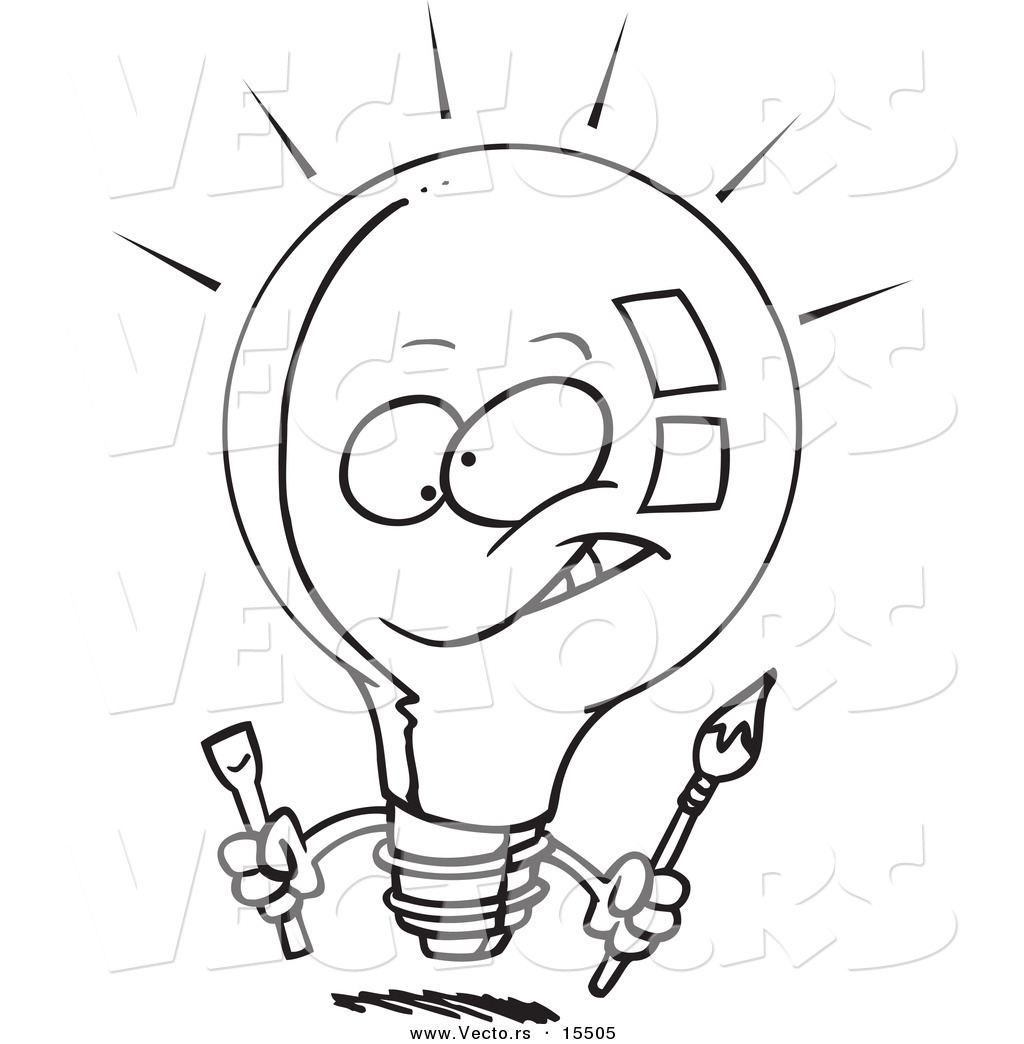 vector of a cartoon innovative light bulb coloring page outline
