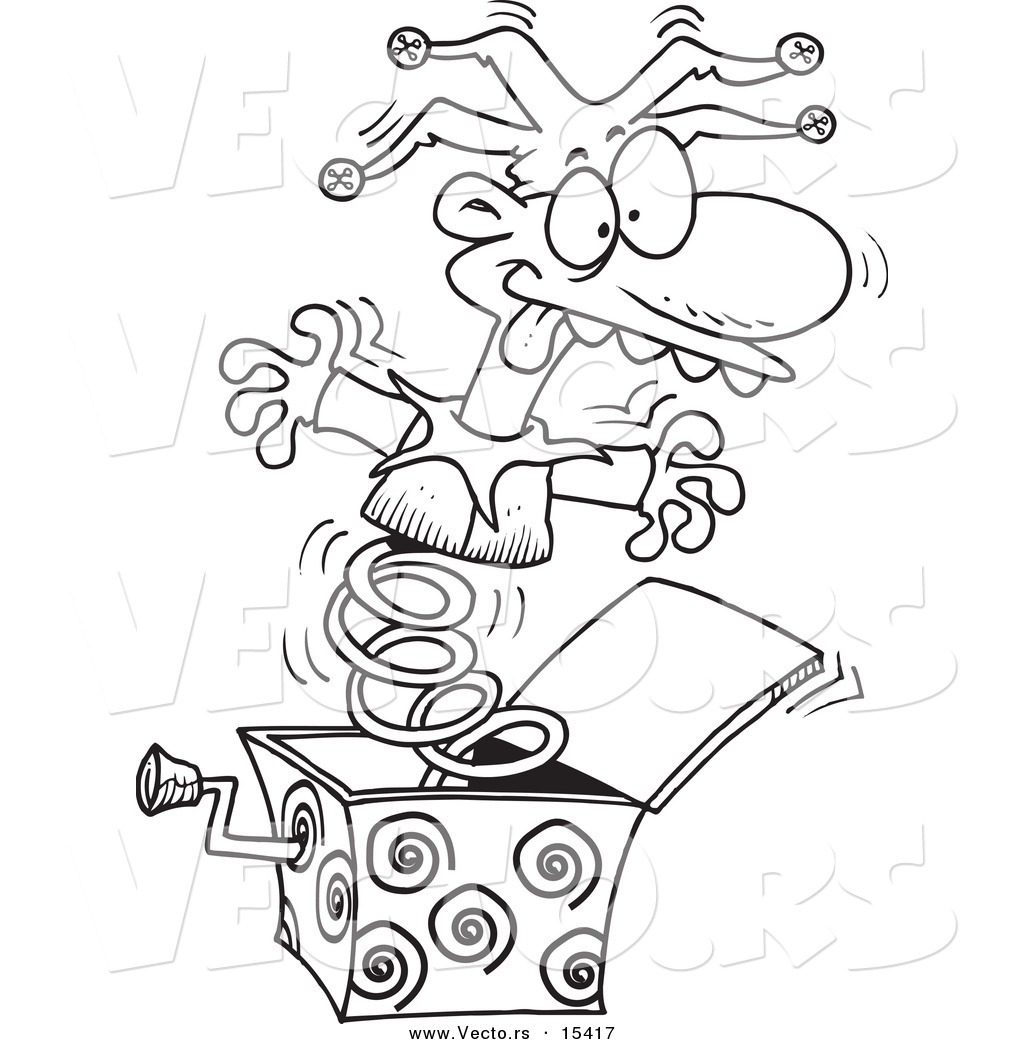 vector of a cartoon jack in the box opening up coloring page