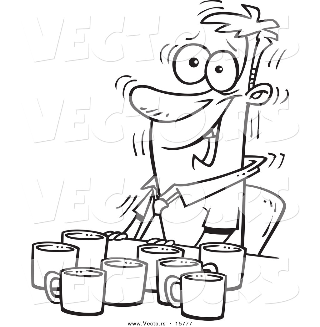 Vector of a Cartoon Jittery Businessman with Coffee Cups at a Table ...
