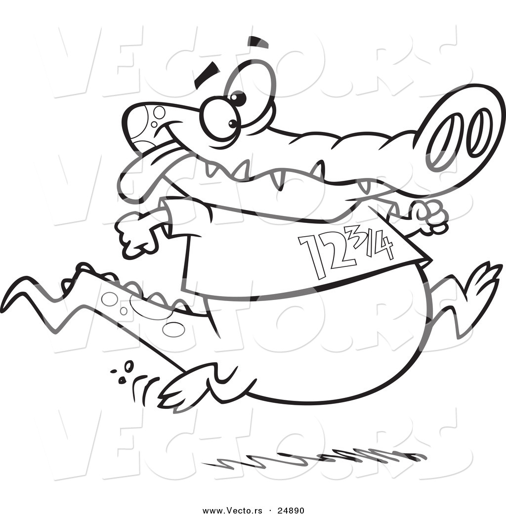 vector of a cartoon jogging alligator outlined coloring page - Alligator Clip Art Coloring Pages