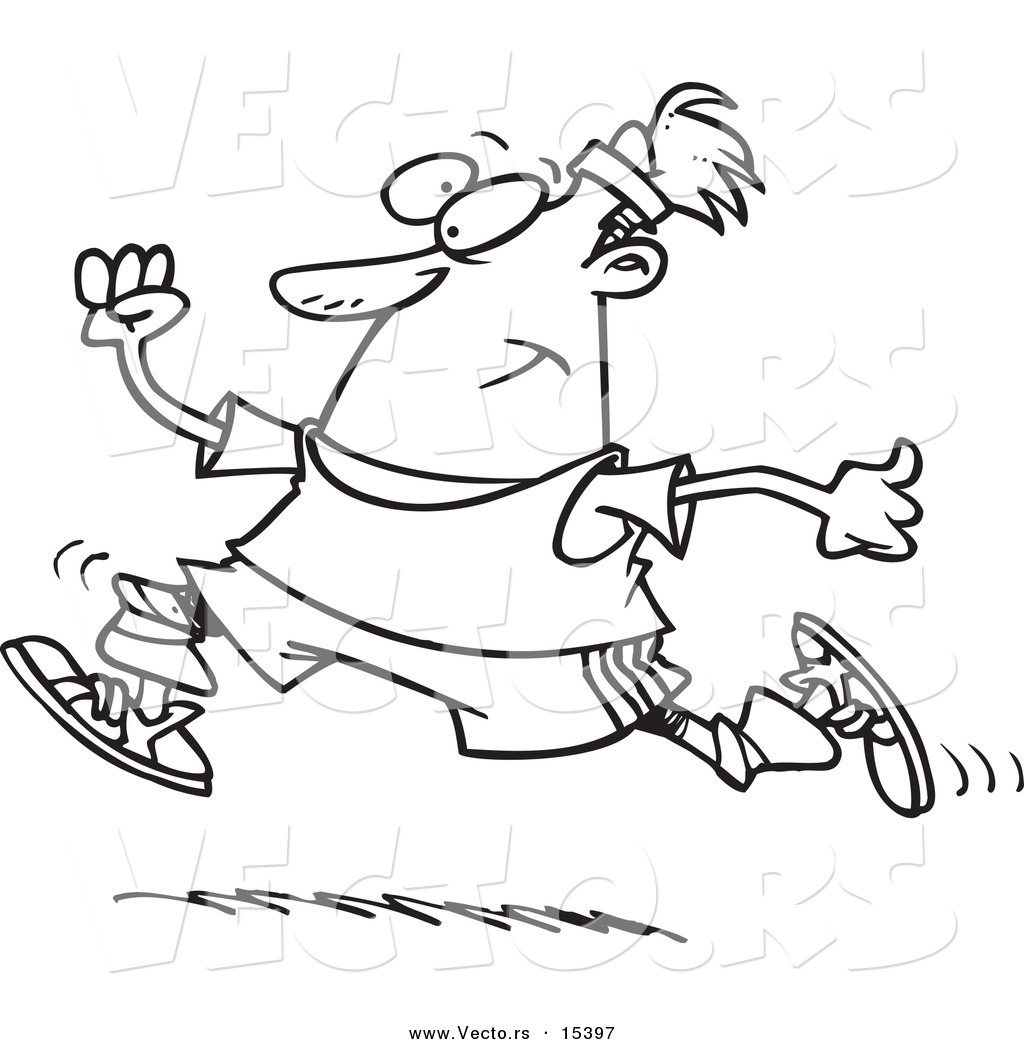 vector of a cartoon jogging man coloring page outline by