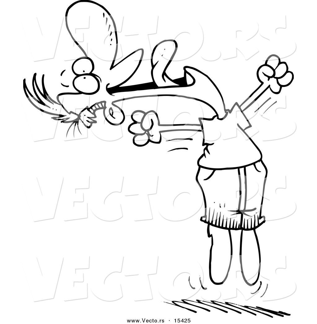 vector of a cartoon joyful man jumping - coloring page outline by toonaday