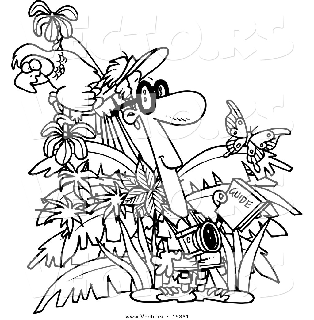 vector of a cartoon jungle tourist coloring page outline by