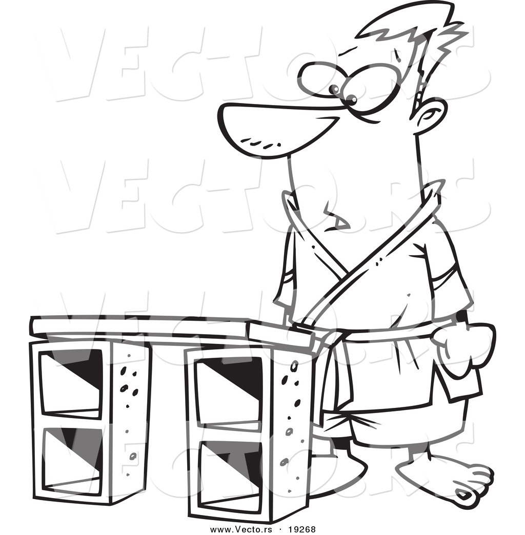 vector of a cartoon karate man standing before a board outlined