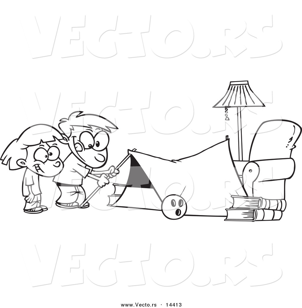 vector of a cartoon kids setting up a camping tent in a living