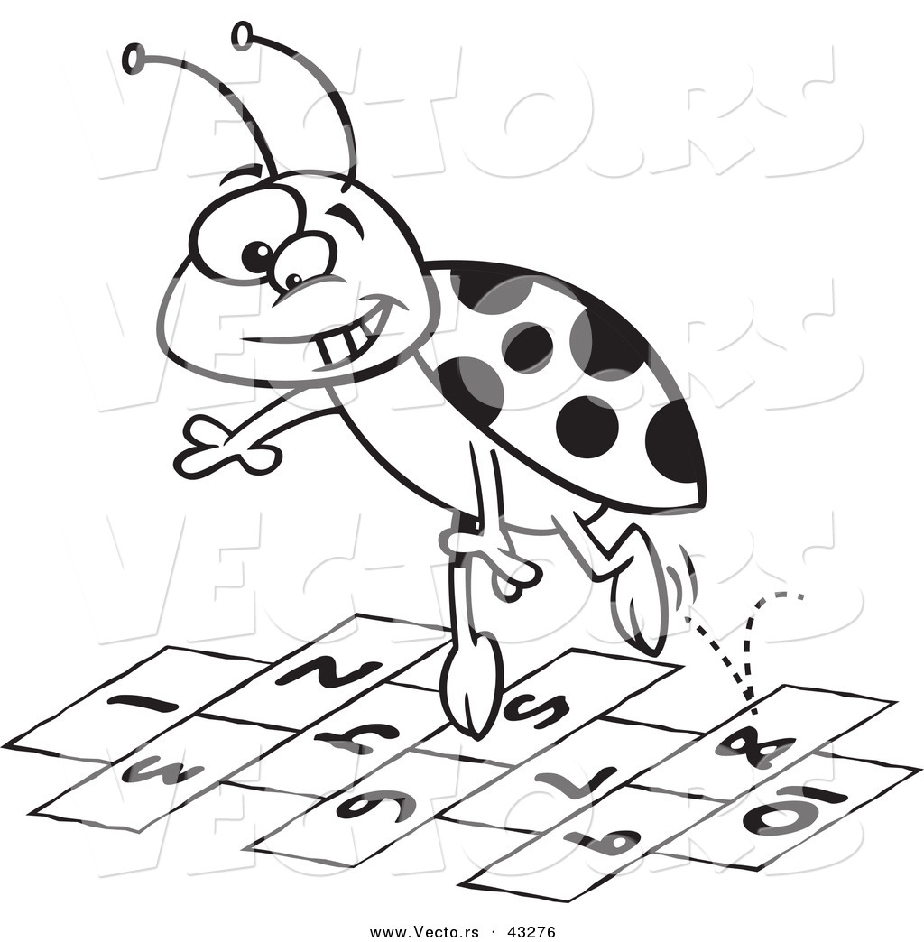 A Cartoon Ladybug vector of a cartoon ladybug jumping over hopscotch numbers