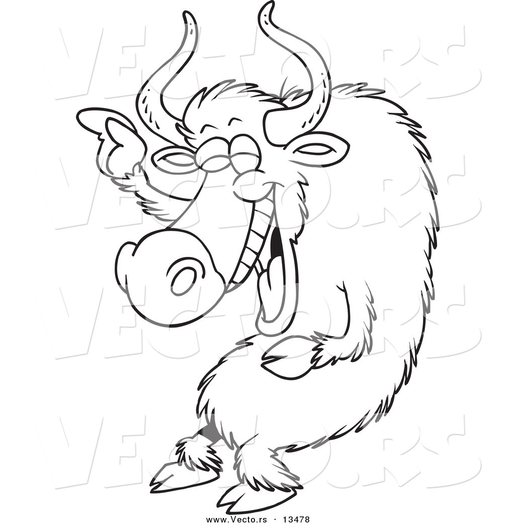 Coloring pages yak - Vector Of A Cartoon Laughing Yak Coloring Page Outline