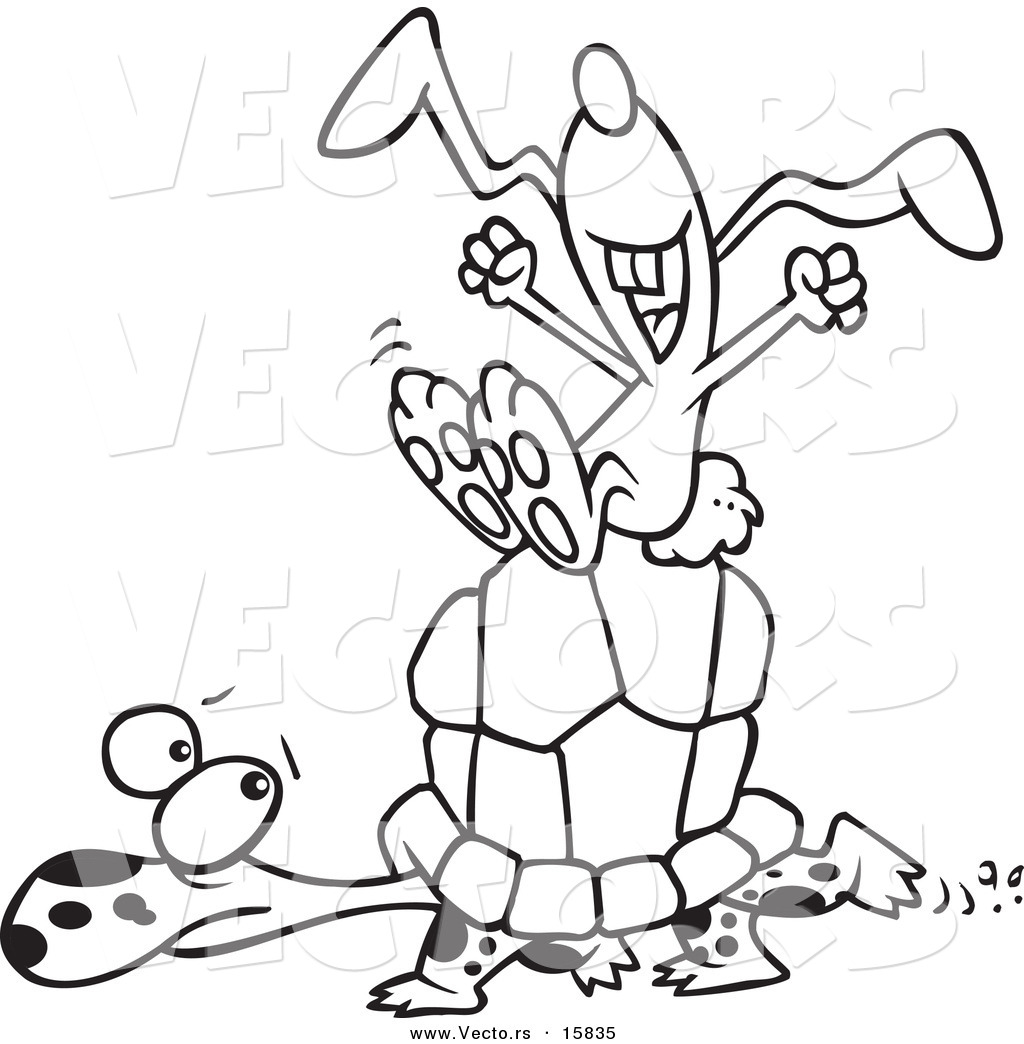 Vector of a Cartoon Lazy Hare Riding on a Tortoise - Outlined ...