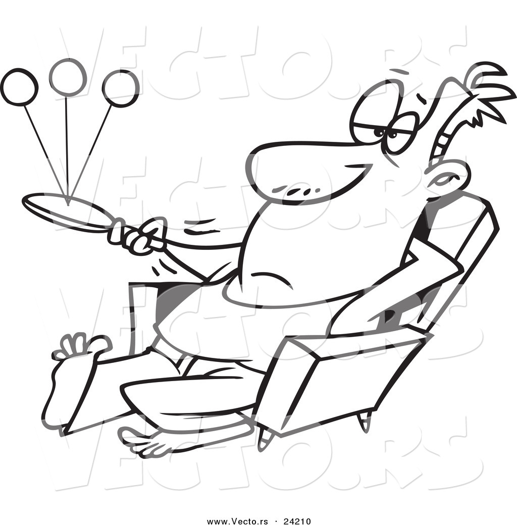 vector of a cartoon lazy man playing paddle ball coloring page