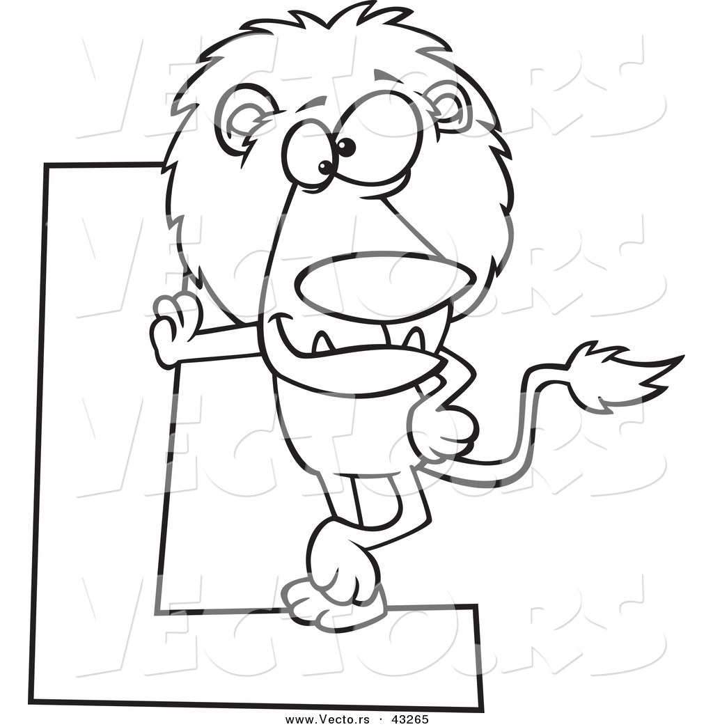 vector of a cartoon lion leaning against a letter l coloring page outline
