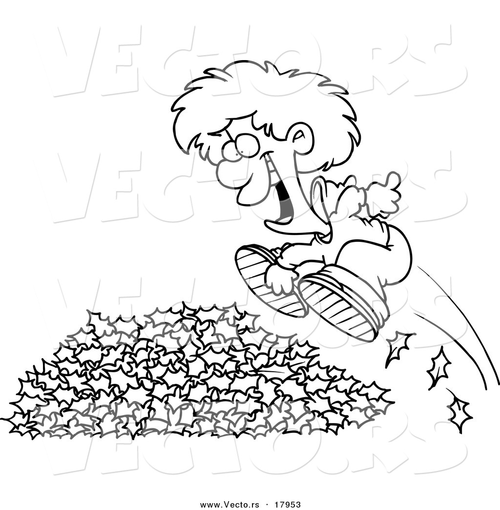 vector of a cartoon little boy jumping in leaves outlined
