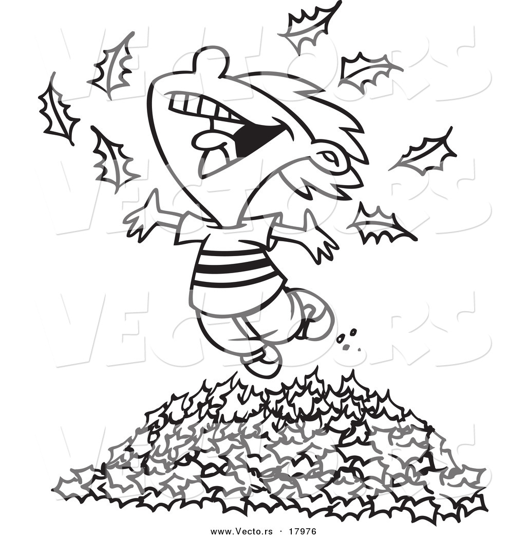 vector of a cartoon little boy playing in leaves outlined coloring page