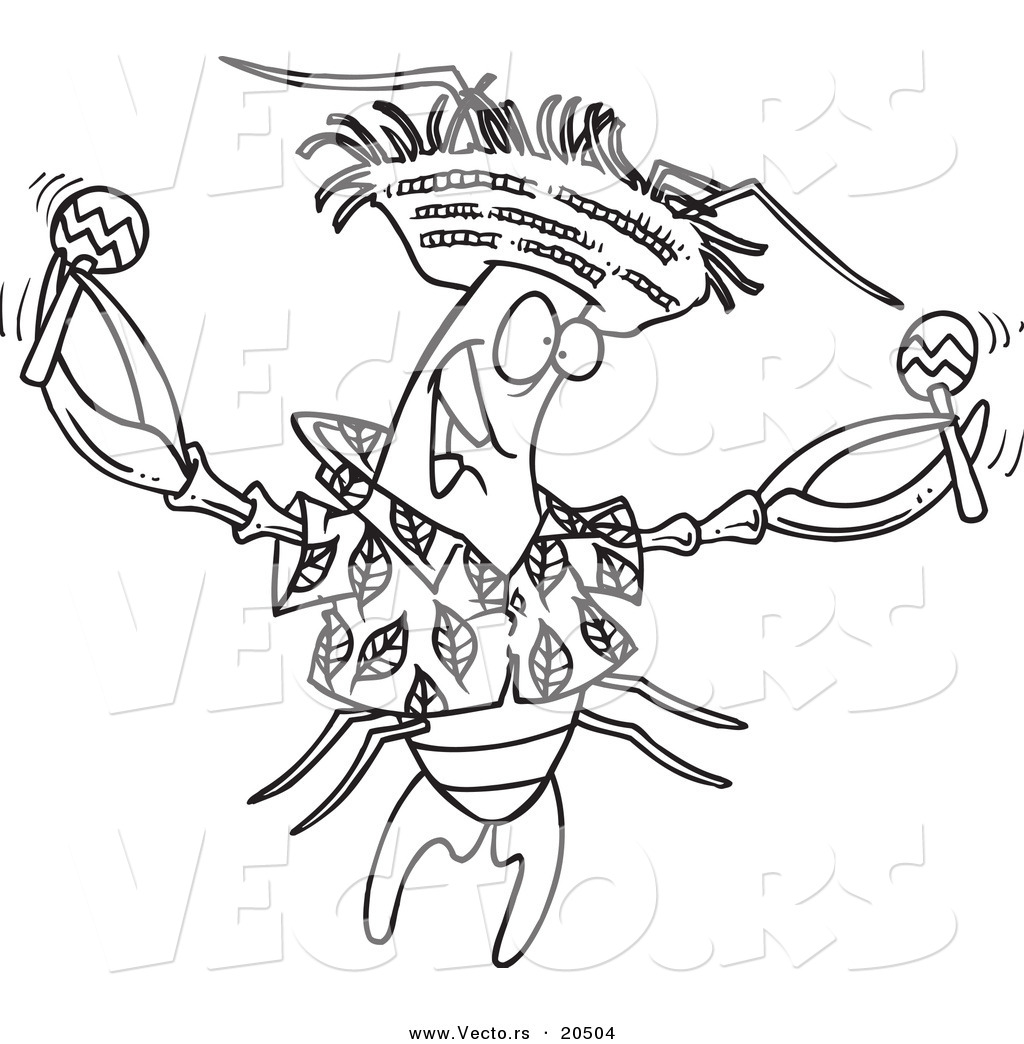 Vector of a Cartoon Lobster Shaking Maracas Coloring Page