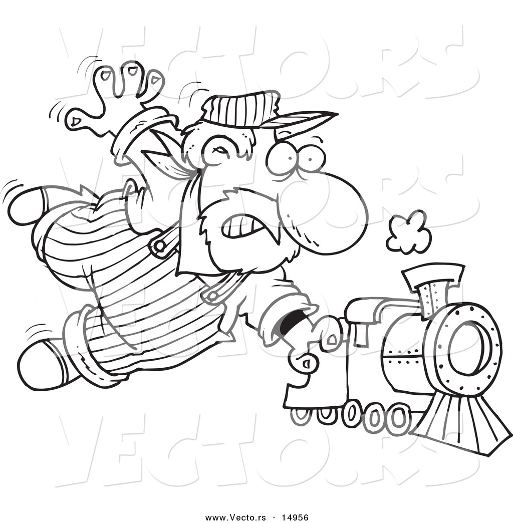 vector of a cartoon locomotive engineer holding onto a fast steam
