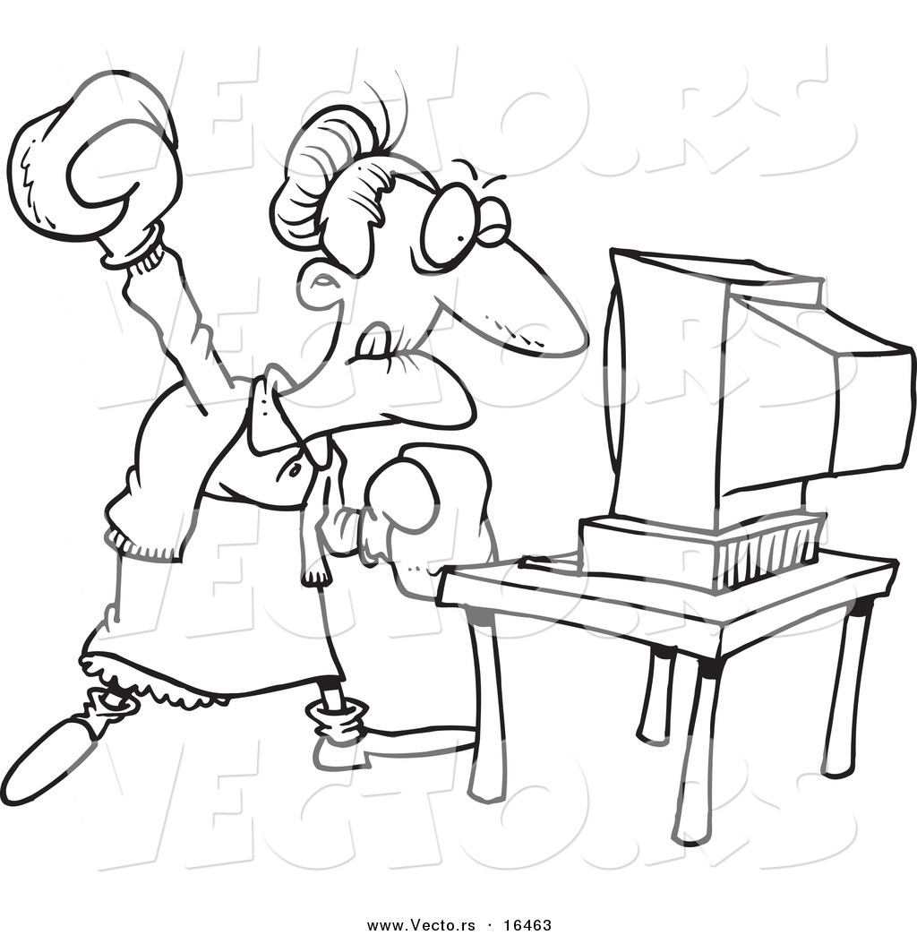 vector of a cartoon mad granny beating a computer with boxing gloves outlined coloring page