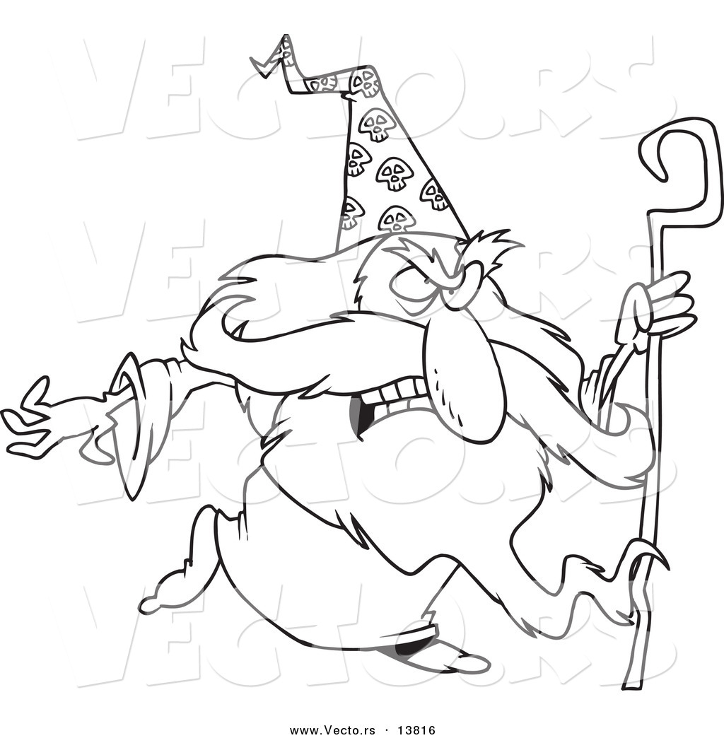 Coloring book outlines - Vector Of A Cartoon Mad Wizard With A Cane Coloring Page Outline