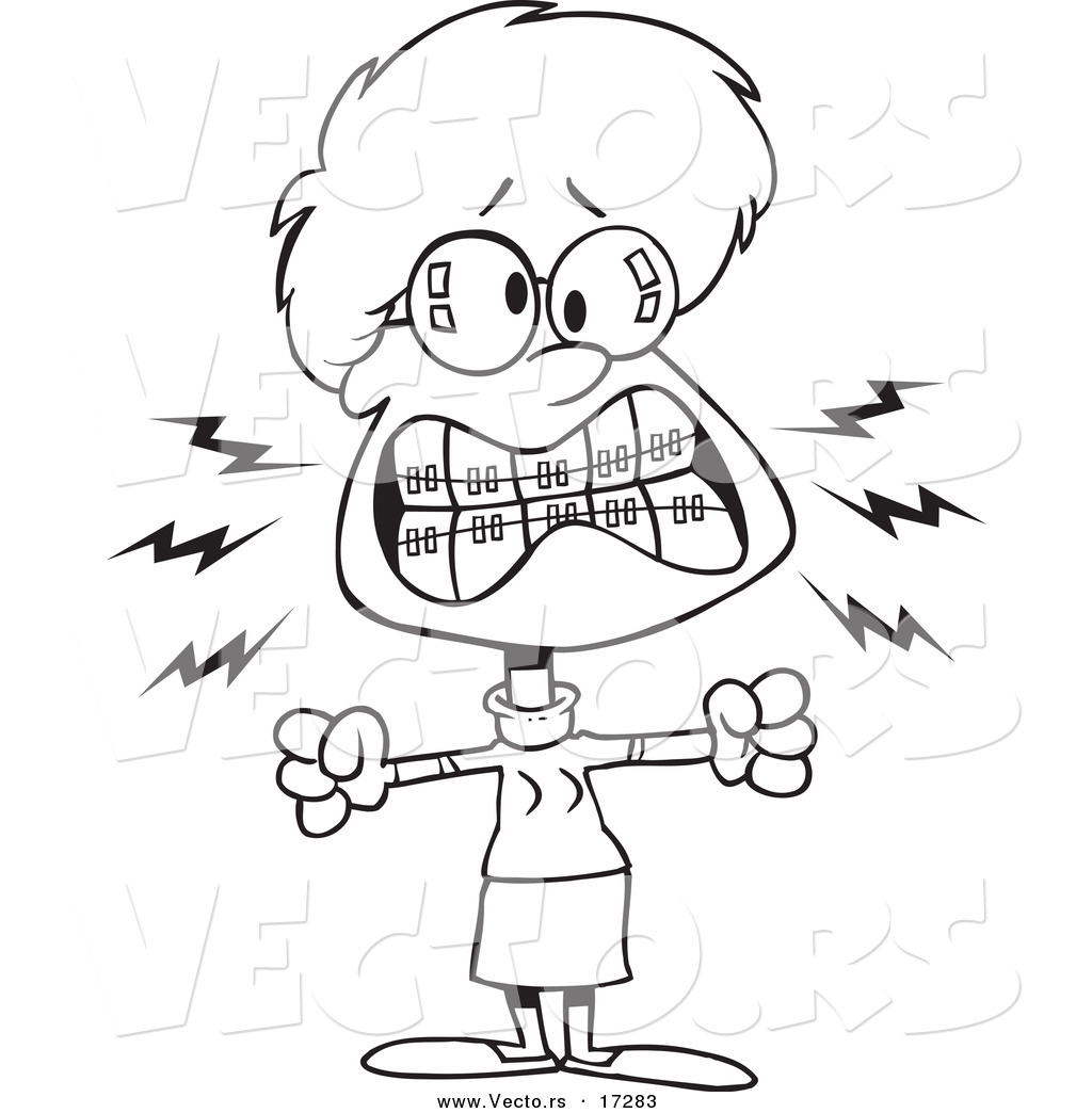 vector of a cartoon mad woman with braces coloring page outline