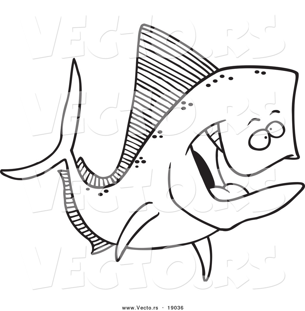 vector of a cartoon mahi mahi fish outlined coloring page by