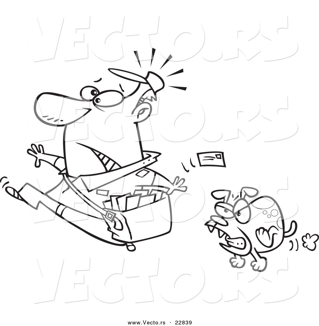 vector of a cartoon mail man running from a dog coloring page