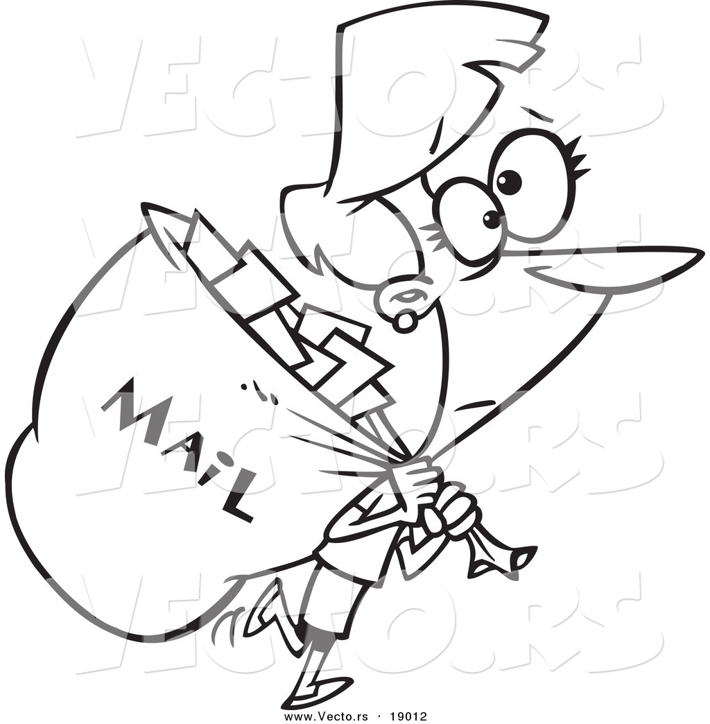 Free coloring pages by mail - Vector Of A Cartoon Mail Woman Carrying A Big Bag Outlined Coloring Page