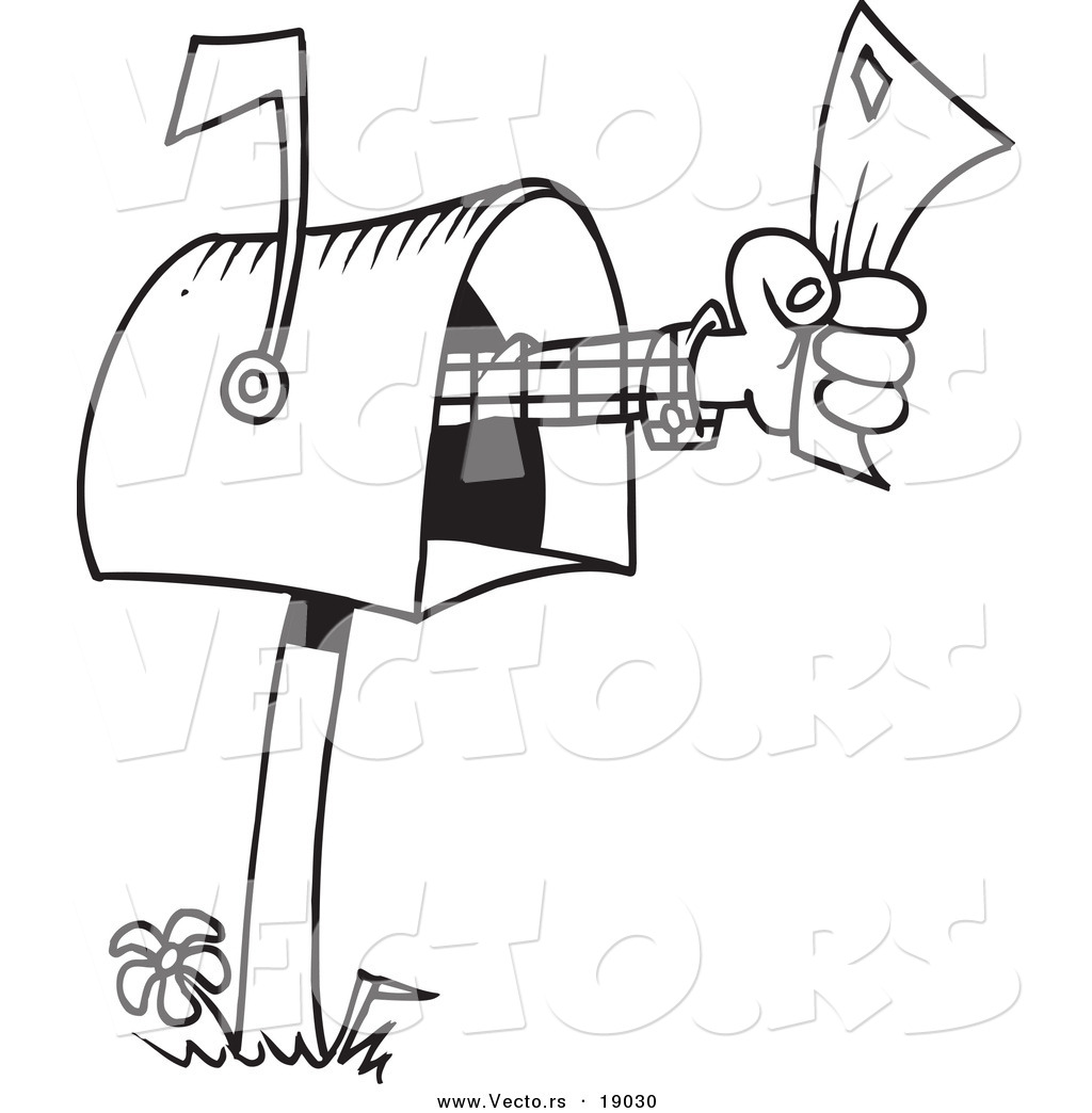 Free coloring pages by mail - Vector Of A Cartoon Mailbox Outlined Coloring Page