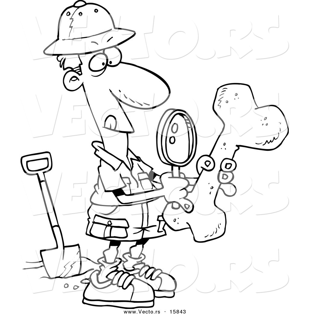 Vector Of A Cartoon Male Archaeologist Inspecting A Bone