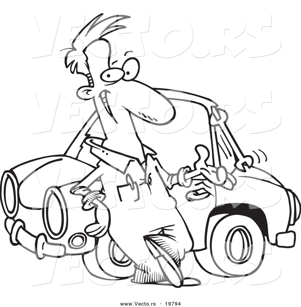 Vector of a cartoon male auto mechanic tossing a wrench for Mechanic coloring pages