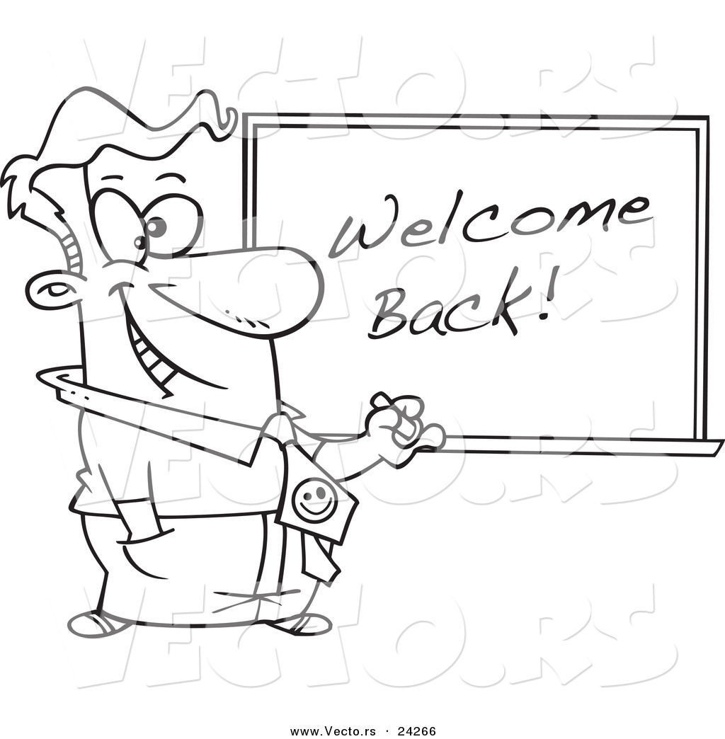 Vector Of A Cartoon Male Teacher Writing Welcome Back On