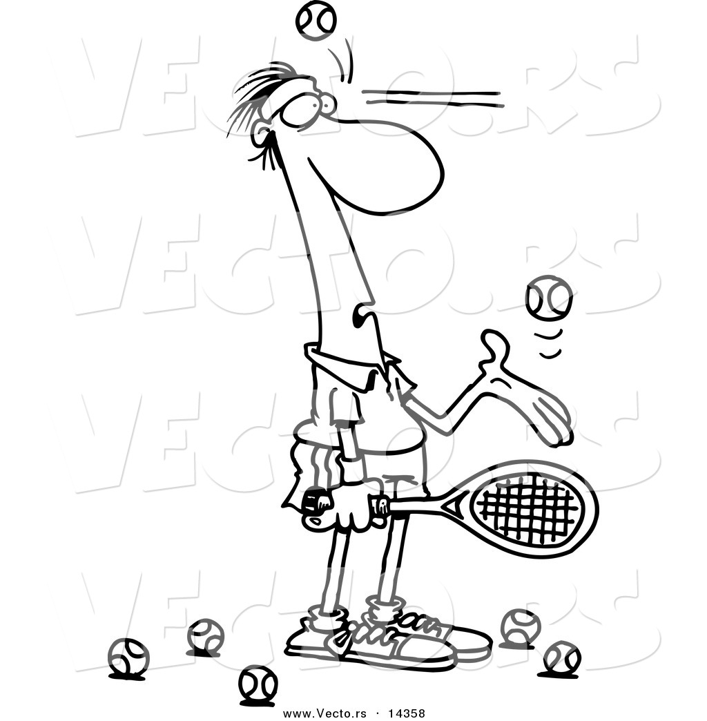 tennis ball coloring page - vector of a cartoon male tennis player being hit in the